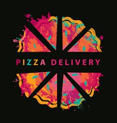 creative banner on theme pizza delivery vector image