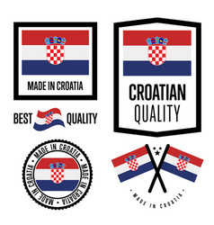 Croatia quality label set for goods vector