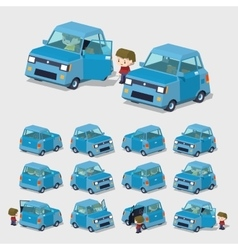 Cube world blue compact car vector