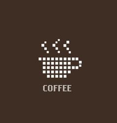 cup coffee pixel logo icon design for business vector image