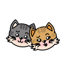 Cute couple wild animal with beautiful expression vector