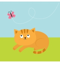 Cute red orange cat lying on grass and looking at vector image