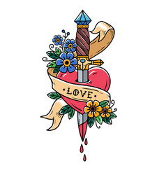 Dagger piercing heart with dripping bloodlove vector