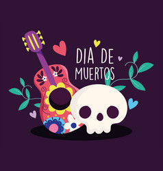 day dead catrina and guitar flowers vector image