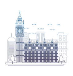 Degraded line london clock tower and nice trees vector