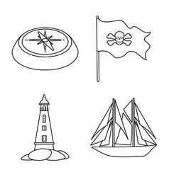 Design treasure and ocean logo set of vector
