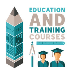Education and training courses concept in flat vector