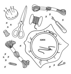 Embroidery tools set vector