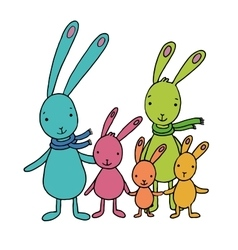 Family of cute cartoon hares vector
