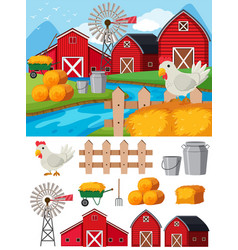 Farm elements and scene at daytime vector