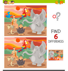 find differences game with cute animals vector image