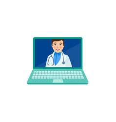 Flat adult male doctor in laptop vector