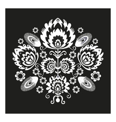 Folk Pattern With Flowers Black vector