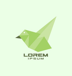 Geometric green bird logo vector