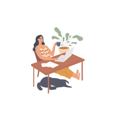 Girl sits relaxed at her desk with a laptop vector