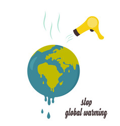 Global warming concept poster with melting globe vector