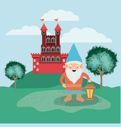 Gnome in the camp with castle vector