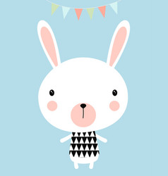 greeting card with little rabbit vector image