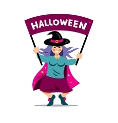 Halloween Witch with festive banner vector image