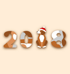 Happy chinese new year 2018 dog in santa hat vector