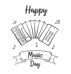 happy music day celebration hand draw vector image