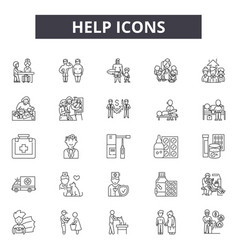 help line icons signs set outline vector image