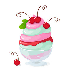 isolated cherry frozen yogurt or ice cream on vector image