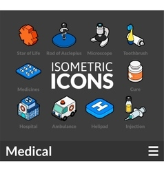 Isometric outline icons set 17 vector