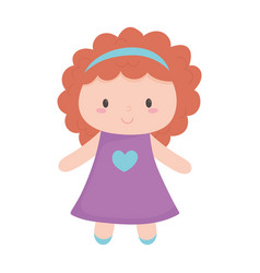 Kids toys little doll cartoon isolated icon design vector