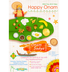 King Mahabali in Onam Sadya background vector