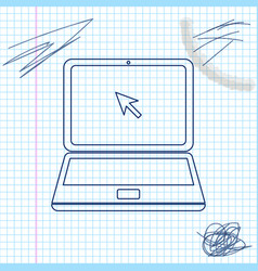 laptop with cursor line sketch icon isolated on vector image