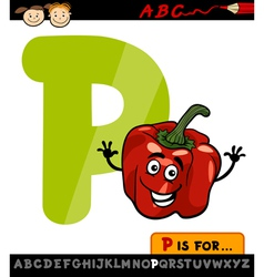 Letter p with pepper cartoon vector