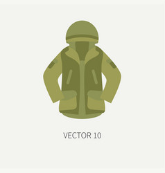 Line tile color hunt and camping icon khaki vector