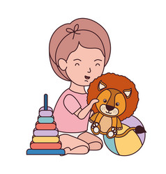 Little kid playing with lovely lion vector