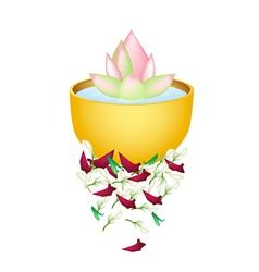 Lotus Flower in A Bowl for Songkran Festival vector
