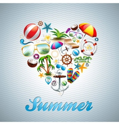 Love heart summer holiday design set vector