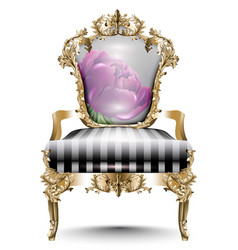 Luxurious baroque chair soft textile vector