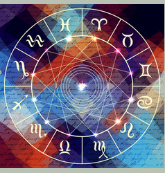 Magic circle with zodiacs sign vector