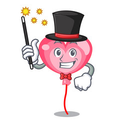 Magician ballon heart mascot cartoon vector