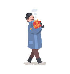 man in winter clothing with wrapped christmas vector image