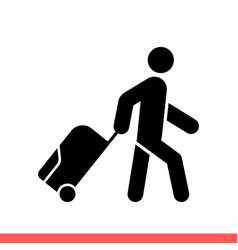 Man with luggage icon for web or mobile app vector