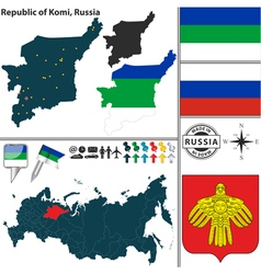 Map of Republic of Komi vector image