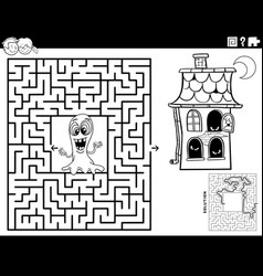 Maze with ghost and haunted house coloring book vector