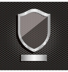 metal dot perforated texture with shield and vector image