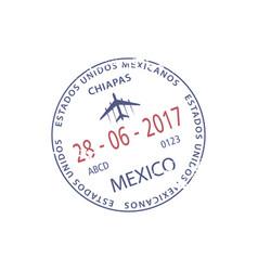 Mexico border control visa stamp chiapas airport vector