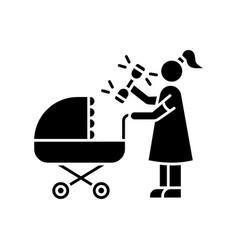 newborn experience black glyph icon woman vector image