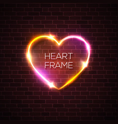 Night club 3d pink neon heart realistic sign vector