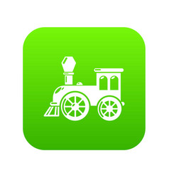 Old train icon green vector