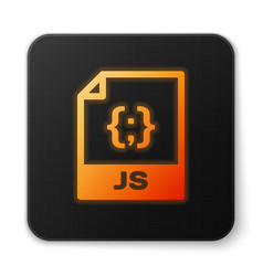 Orange glowing js file document icon download js vector