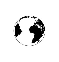 planet earth black and white icon flat planet vector image
